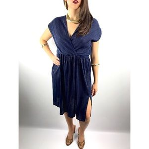 1970's navy blue with gold pinstripe dress